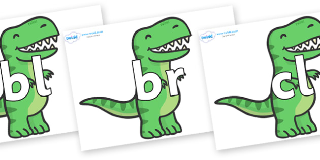 Initial Letter Blends on T Rex Dinosaurs - Initial Letters, initial letter, letter blend, letter blends, consonant, consonants, digraph, trigraph, literacy, alphabet, letters, foundation stage literacy