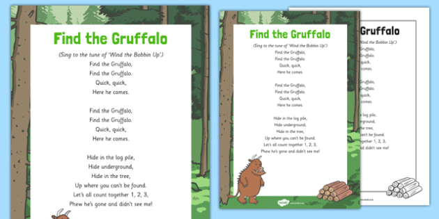 Find The Gruffalo Song to Support Teaching on The Gruffalo - Julia Donalson, Axel Scheffler, The Gruffalo, The Gruffalo's Child