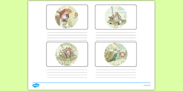 Beatrix Potter - The Tale of Mr Jeremy Fisher Storyboard Template - beatrix potter, mr jeremy fisher