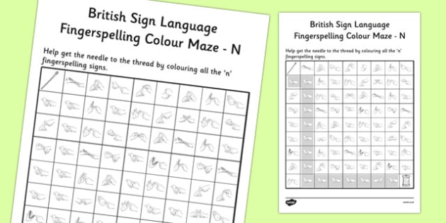 British Sign Language Left Handed Fingerspelling Colour Maze N
