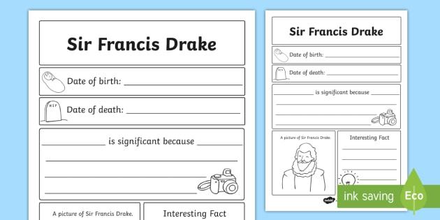 Sir Francis Drake Significant Individual Writing Frame - writing