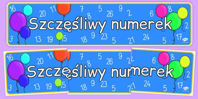 Banner na gazetkę ścianną Szczęśliwy numerek po polsku - sala