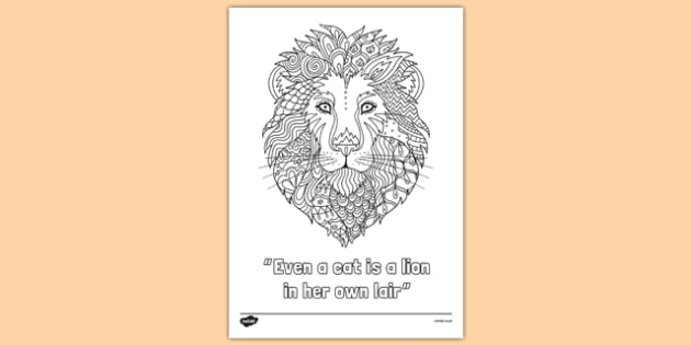 Lion Quote Mindfulness Colouring Poster - lion, quote, mindfulness, colouring, poster, display