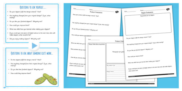Slipper Project Evaluating Teaching Pack - DT, design, technology