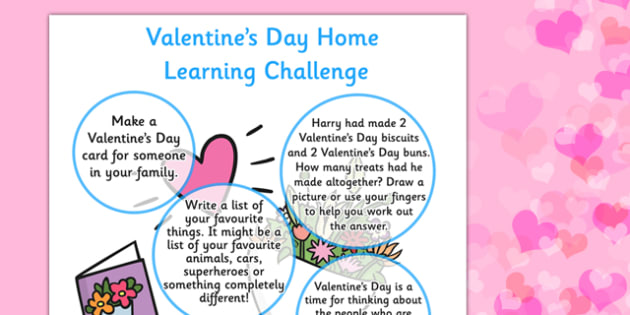 EYFS Valentine's Day Home Learning Challenge Sheet Reception FS2 - eyfs, valentines day, home learning, challenge