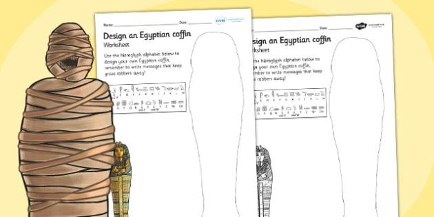 Design a Sarcophagus Worksheet - sarcophagus, design a sarcophagus, ancient egypt, egyptian history, egyptian design worksheet, history worksheet, ks2