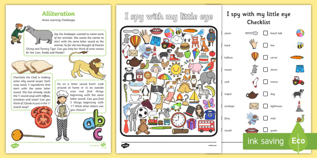 Alliteration Home Learning Challenge Sheet FS1 - EYFS planning, Early years activities, homework activities, phonics, Letters and Sounds, Phase 1, Aspect 5, listening skills