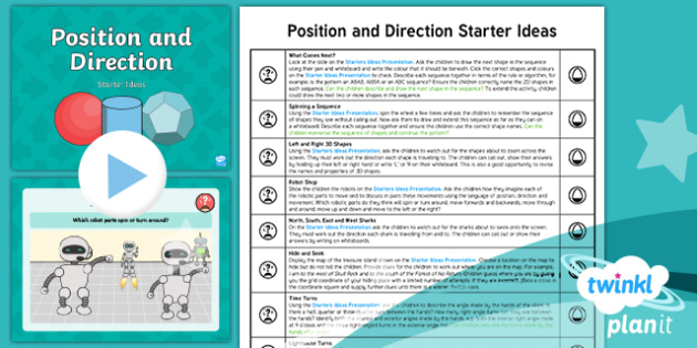 PlanIt Y2 Position and Direction Starter Ideas Pack - Pattern, sequence, orientation, movement, straight line, rotation, turn, right angle, quarter turn,