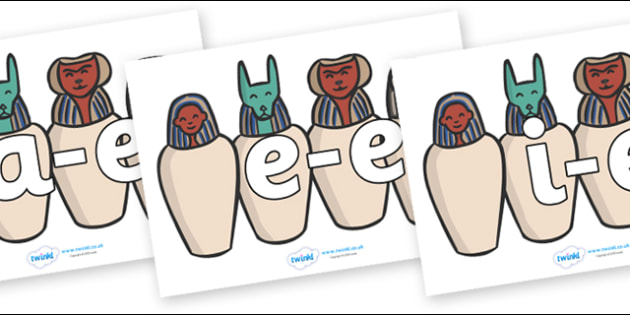 Modifying E Letters on Egyptian Jars - Modifying E, letters, modify, Phase 5, Phase five, alternative spellings for phonemes, DfES letters and Sounds