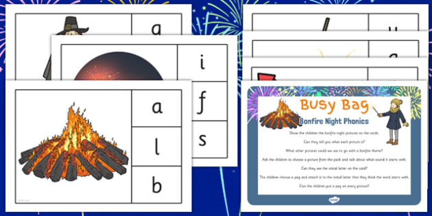Bonfire Night Phonic Busy Bag Prompt Card and Resource Pack for Parents - bonfire night, phonic, busy bag