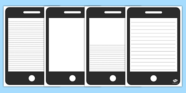 Template Writing Frame  Phone Template Writing Frame