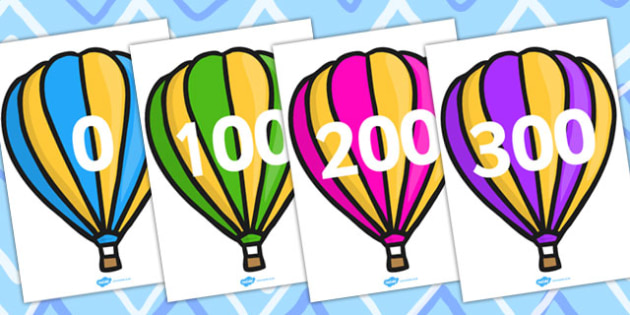 Counting In 100s On Hot Air Balloons - balloon, numbers, 100