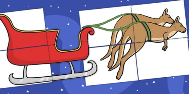 Christmas Kangaroo Sleigh Cut Outs - australia, christmas, cut