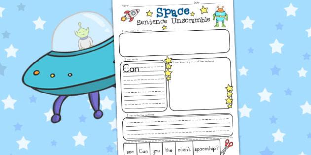 Space Sentence Unscramble Worksheets - Worksheet, Sentences