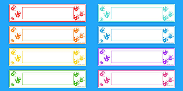 Handprint Themed Editable Gratnells Tray Labels - tray labels