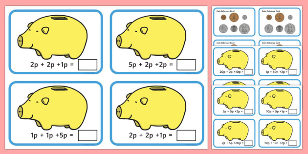 How Much In My Piggy Bank Flash Cards - how much, piggy bank, money, flash cards, numeracy, maths
