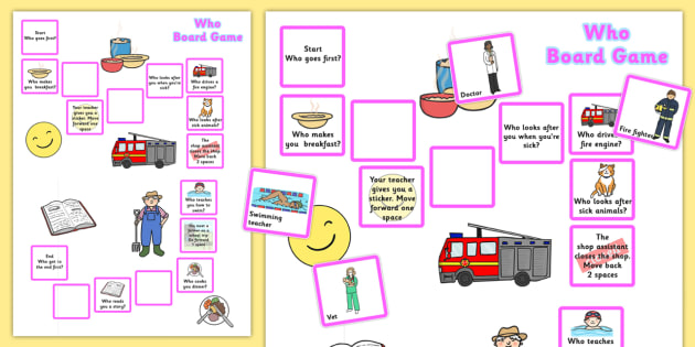 Who Board Game - question words, question games, board games