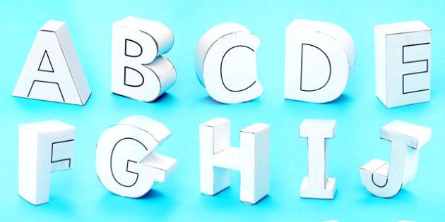 3D Display Letters Paper Models - paper, models, 3d, letters
