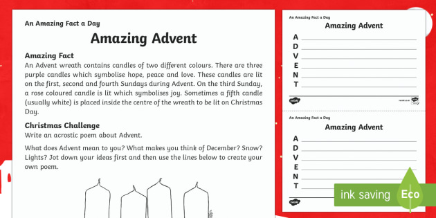 Amazing Advent Activity Sheet - Amazing Fact Of The Day, activity sheets, PowerPoint, starter, morning activity, December, Christmas