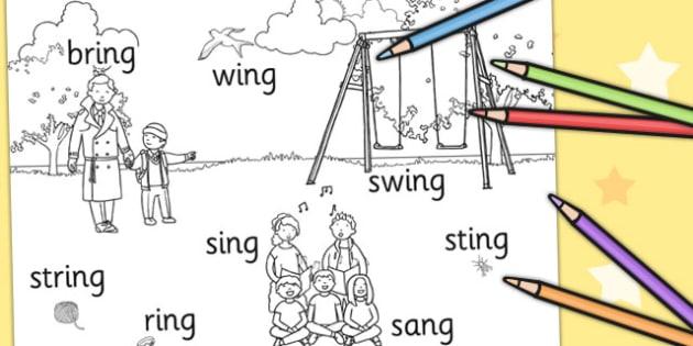 Final 'ng' Sound Colouring Production Sheet - final ng, sound, colouring