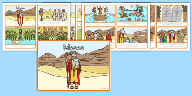 Moses Story Sequencing 4 per A4 - usa, america, Moses, Egypt, Hebrews, slaves, Pharaoh, basket, God, sequencing, story sequencing, story resources, A4, cards, 4 per A4, palace, shepherd, burning bush, plague, Promised Land, law, stone, ten commandmen
