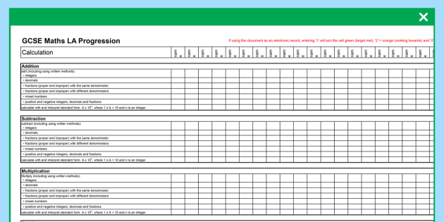 GCSE Maths Low Ability Progression Spreadsheet - KS4, Maths, GCSE, Assessment, Objectives, Progression, new curriculum, SEN, low ability,