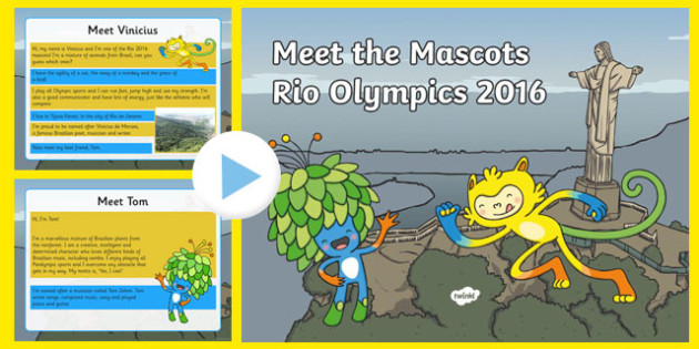 Meet the Mascots of Rio 2016 PowerPoint - meet the mascots, rio 2016, 2016 olympics, rio olympics, powerpoint