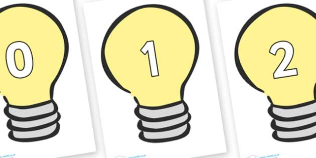 Numbers 0-100 on Light Bulbs (Plain) - 0-100, foundation stage numeracy, Number recognition, Number flashcards, counting, number frieze, Display numbers, number posters