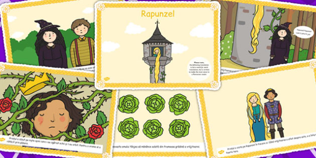 Rapunzel, lectura, rezumat cu imagini, planse imprimabile, Romanian