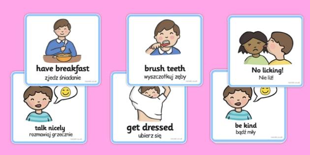 SEN Communication Cards Daily Routine Boy Polish Translation - polish, sen, communication, cards, daily routine, boy
