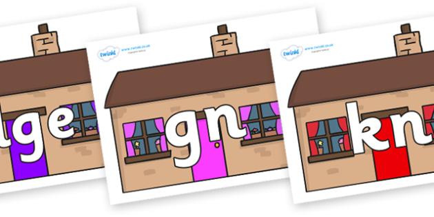 Silent Letters on Houses - Silent Letters, silent letter, letter blend, consonant, consonants, digraph, trigraph, A-Z letters, literacy, alphabet, letters, alternative sounds