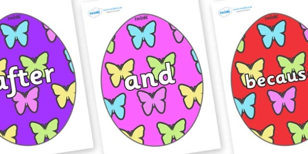Connectives on Easter Eggs (Butterflies) - Connectives, VCOP, connective resources, connectives display words, connective displays