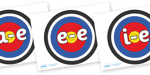 Modifying E Letters on Archery Targets - Modifying E, letters, modify, Phase 5, Phase five, alternative spellings for phonemes, DfES letters and Sounds