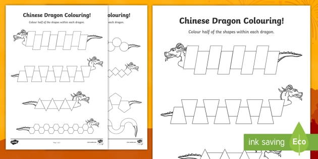 Colour Half the Chinese Dragon Activity Sheet - Chinese New Year KS1. KS2, EYFS, Celebration, festivals, rooster, half, halves, colouring, Chinese d