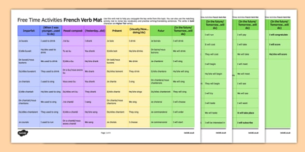 Les loisirs Set de verbes - french, Free time, activities, leisure, hobbies, pastime, passe-temps loisirs, verbs, verbes, learning mat, grid, révision, revision