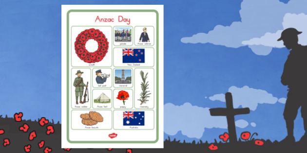 Anzac Day Vocab Poster - anzac day, anzac, vocabulary poster, war