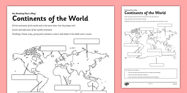 Continents of the World Activity Sheet - continents, map, world, activity, worksheet