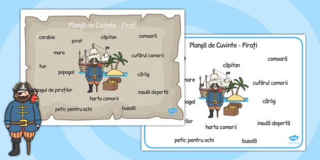 Pirați - Planșă cu imagini și cuvinte