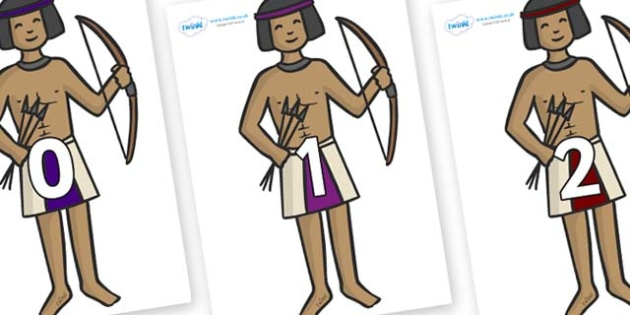 Numbers 0-31 on Egyptian Archers - 0-31, foundation stage numeracy, Number recognition, Number flashcards, counting, number frieze, Display numbers, number posters