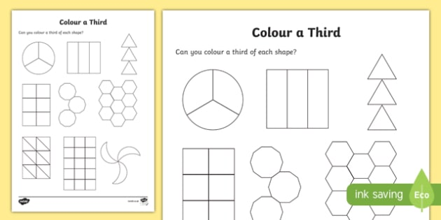 Colour a Third Activity Sheet, worksheet