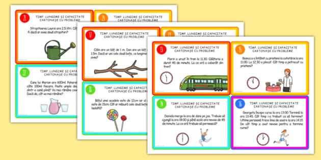 Cartonase cu probleme, Timp, lungime, capacitate - matematica