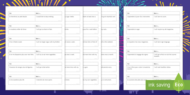 New Year's Resolutions Loop Cards French - French, Grammar,future, tense, New Year, resolutions, wishes,French