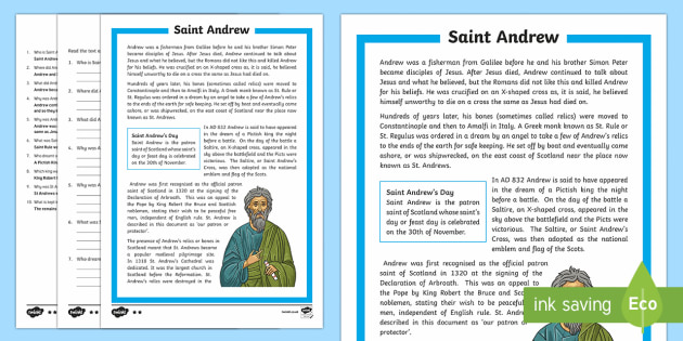 Saint Andrew's Day Differentiated Reading Comprehension Activity-Scottish