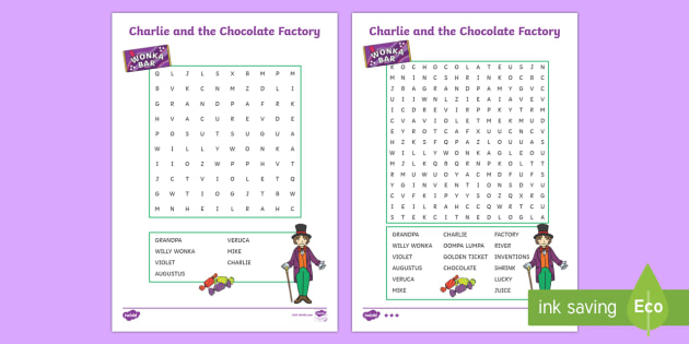 Word Search to Support Teaching on Charlie and the Chocolate Factory - australia, chocolate
