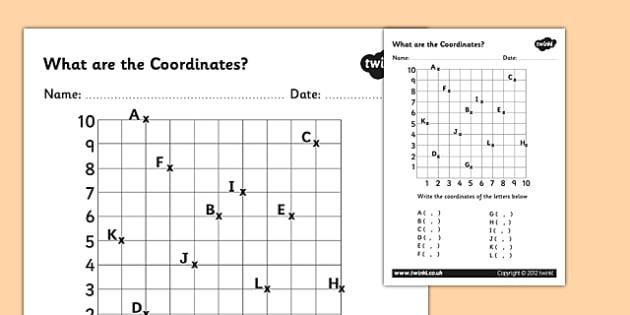 What are the Coordinates Worsksheet - coordinates worksheet, coordinates, finding coordinates, what are the coordinates, reading coordinates, ks2 numeracy