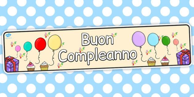 Italian Happy Birthday Display Banner - italian, display, banner
