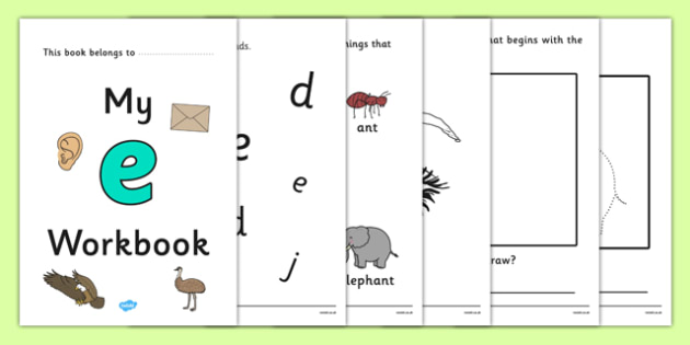 My Workbook e lowercase - workbook, e sound, lowercase, letters, alphabet, activity, handwriting, writing