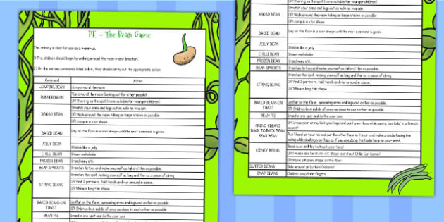 Bean Game - beans, seeds, plants, games, growing, classroom games