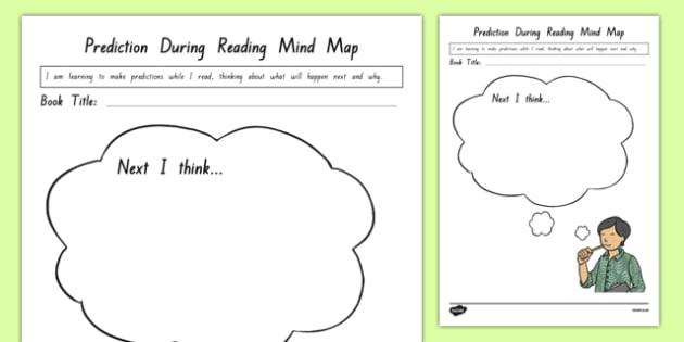 Prediction During Reading Mind Map Activity Sheet, worksheet