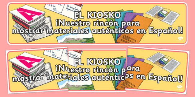 The Magazine Kiosk Display Banner Spanish - literacy, magazines, kiosk, display corner, authentic materials